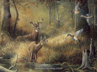 Deer wall mural decor with birds deer antelope elk for Duck hunting mural