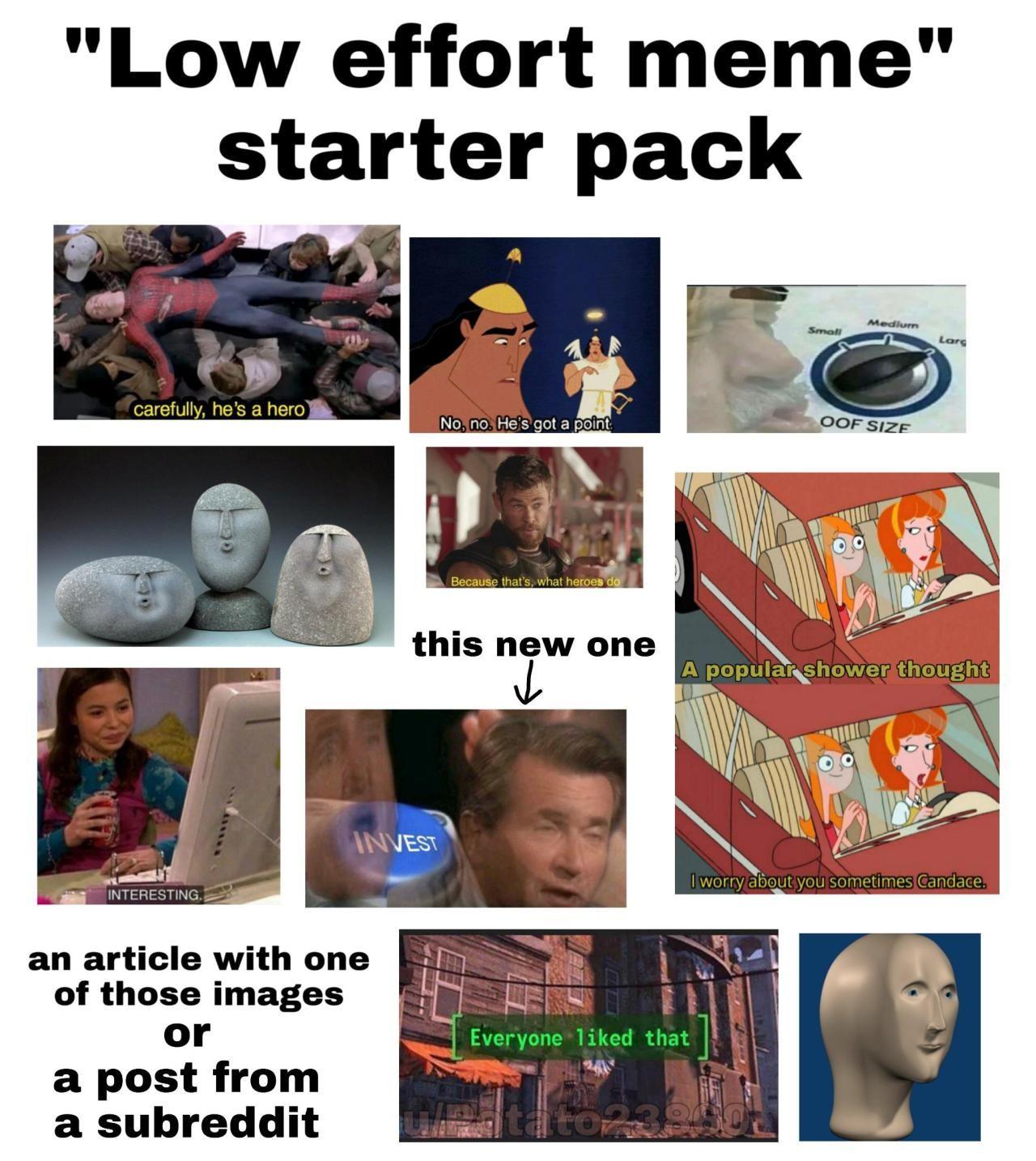 Low effort meme starter pack in 2020 Starter pack, Memes