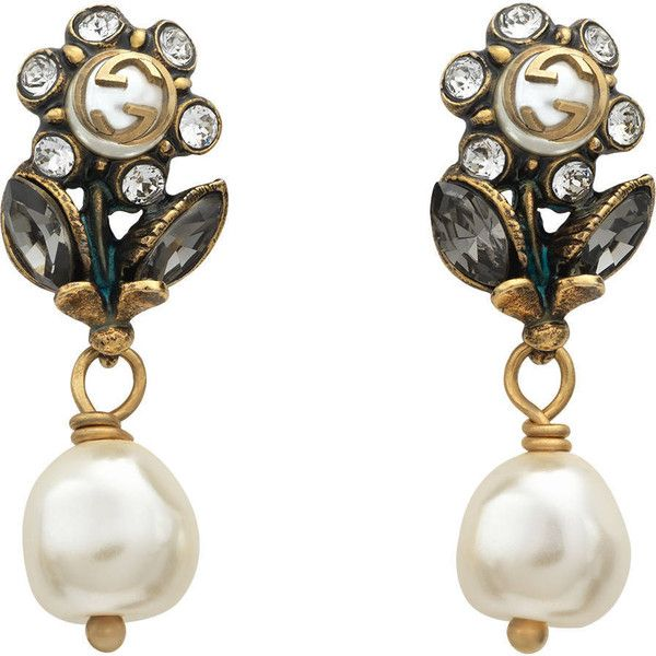 b2790bdcb Gucci Daisy Earrings With Crystals And Pearls (€395) ❤ liked on Polyvore  featuring jewelry, earrings, gold, chain earrings, beaded earrings, ...