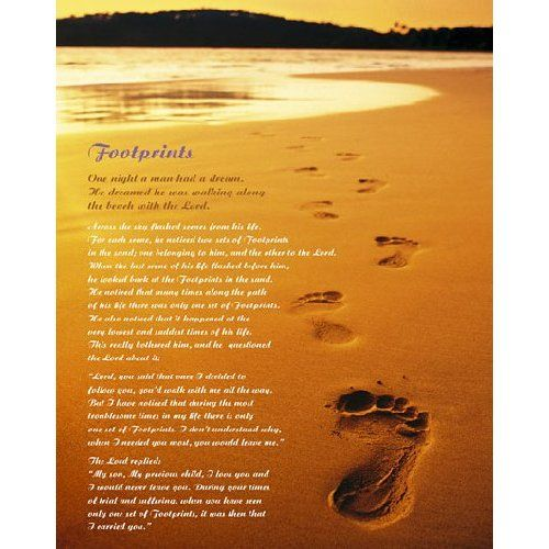 image about Footprints in the Sand Poem Printable Version named footprints inside of the sand poem LAMINATED Footprints Sand Poem