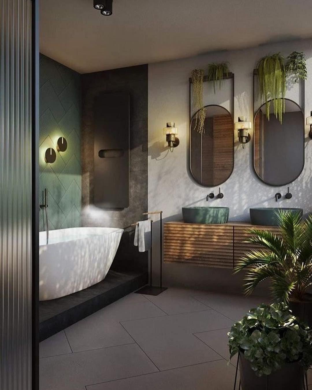 Botanische industriële badkamer met heel veel planten. #badkamerinspiratie