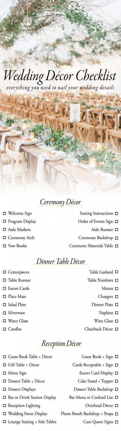 Trendy diy wedding reception checklist ideas #wedding #diy ...
