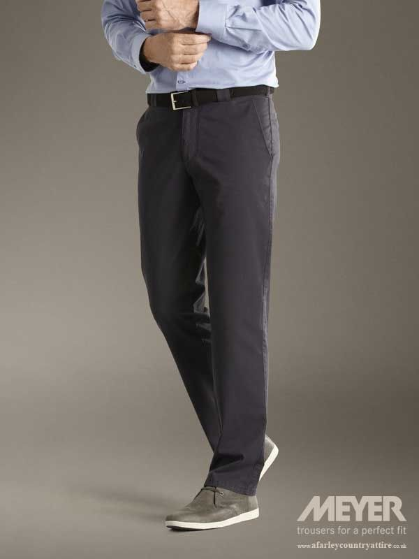 3d57d2d8222dd0 Meyer Trousers - Roma 350 Fine Gabardine Lightweight Cotton - Navy -  Available to buy online