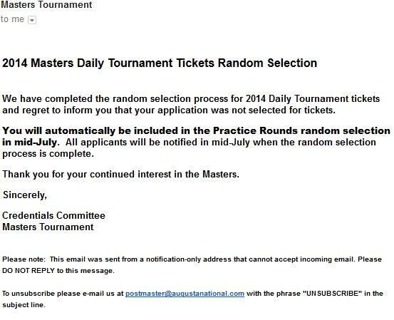Masters Ticket Rejection Letter  Golf    Golf