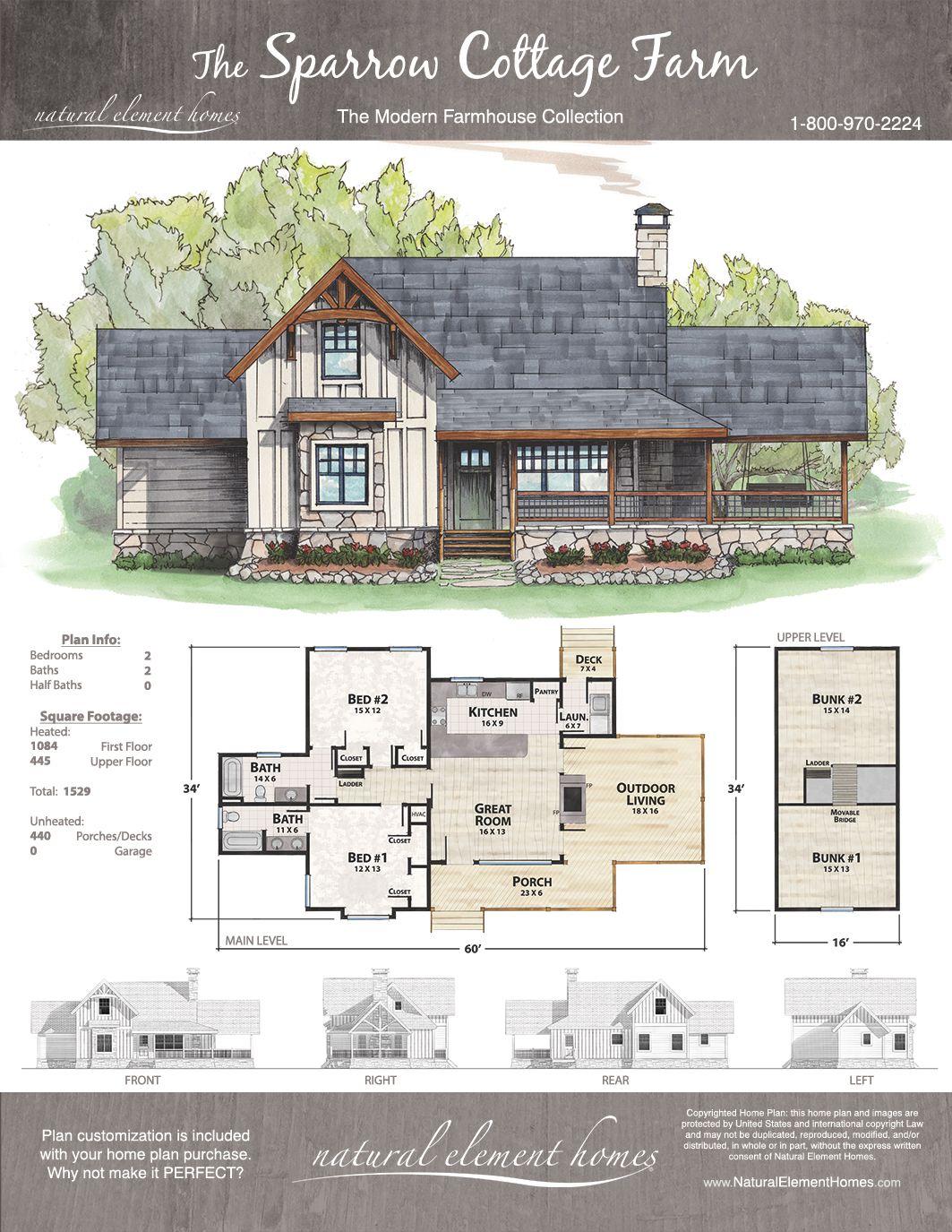 Sparrow Cottage Farm Natural Element Homes Modern Farmhouse Dream House Plans New House Plans House Design