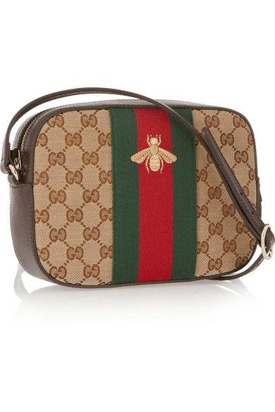Gucci | Linea G 2 leather-trimmed canvas shoulder bag | NET-A-PORTER.COM