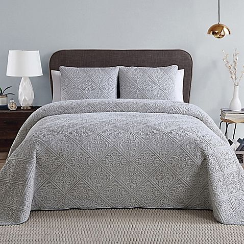 King Grey 3 VCNY Home Westland Quilted 3-Piece
