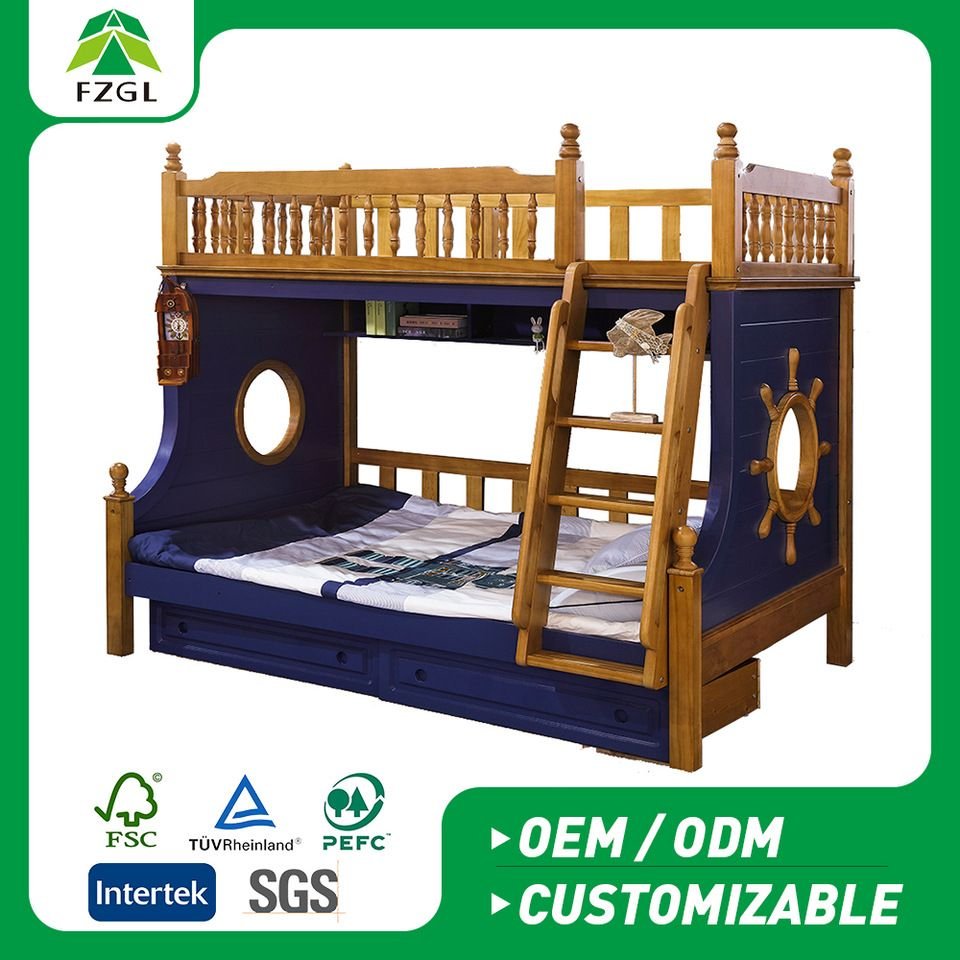 Children Adult Solid Wood Bunk Bed Kids Wooden Bunk Bed Solid Wood