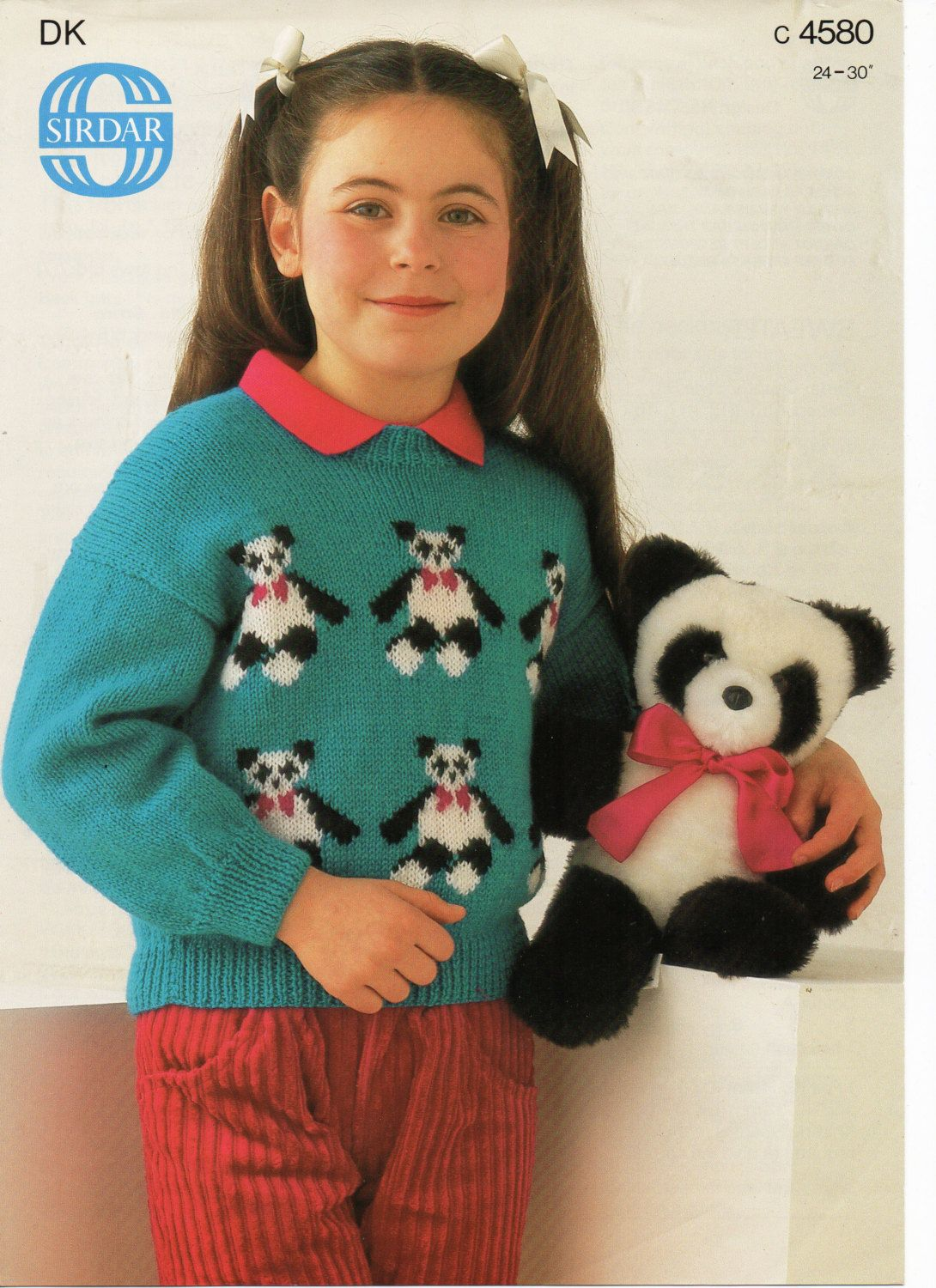 Childrens knitting pattern childrens panda motif sweater childrens childrens knitting pattern childrens panda motif sweater childrens panda jumper 24 30 inch dk childs bankloansurffo Image collections
