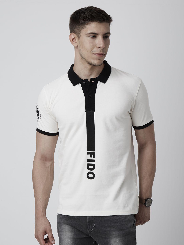 Fido dido men offwhite printed polo collar tshirt with