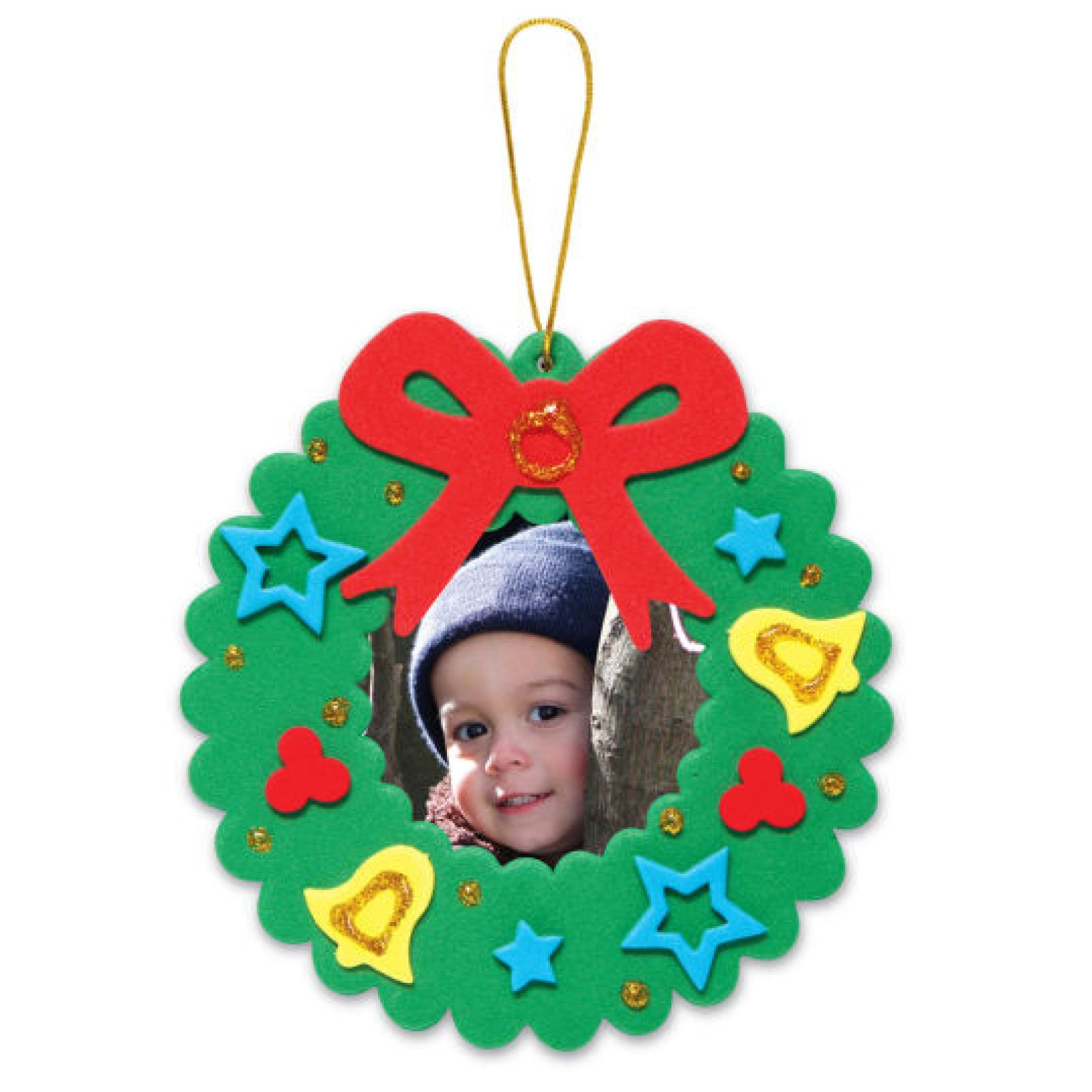 Creatology holiday wreath frame foam ornament kit for Photo frame ornament craft