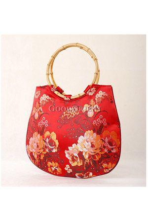 Embroidery Tote Bag,Bamboo Handle Handbag for Woman,Vintage Kimono Top Handle Bags,Satin purse,Floral Bag,Japanese Bag Sew,Vintage Bag