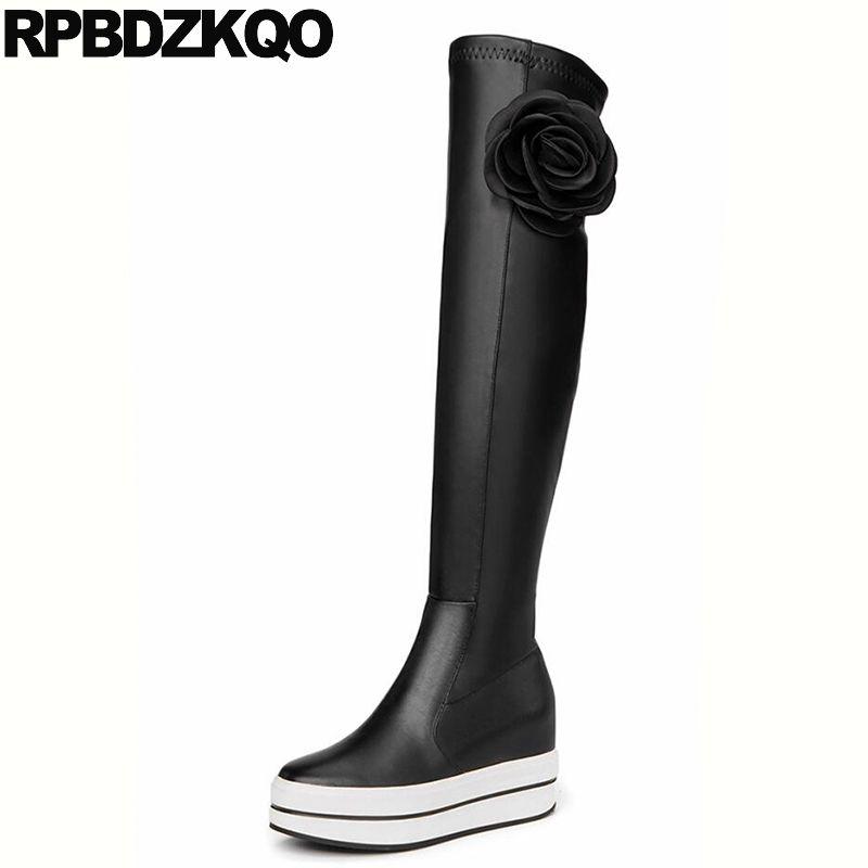 b66bbbcdd711 Platform Muffin Wedge Flower Applique High Heel Slim Thigh Over The Knee  Sheepskin Stretch Waterproof Winter
