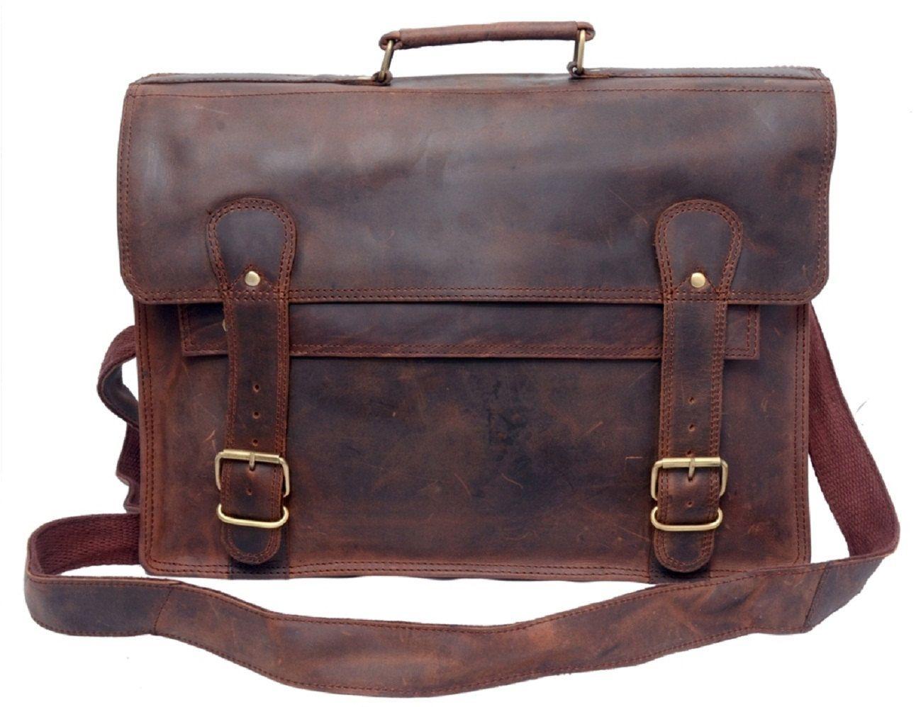 Distressed Leather Messenger Bag Men Leather Briefcase Office Bag ...