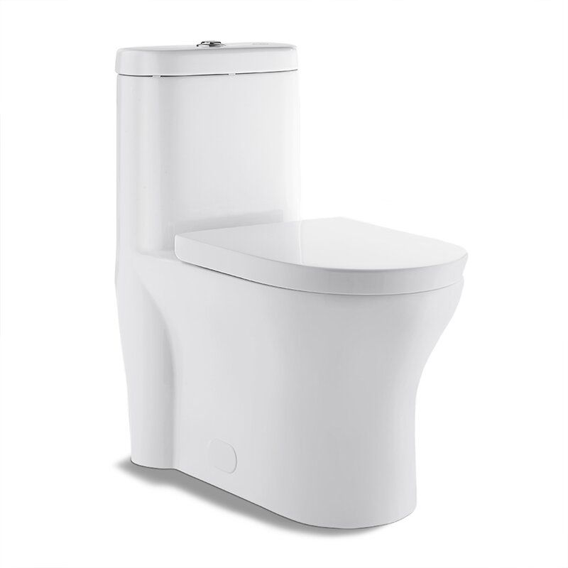 Monaco 1 28 Gpf Water Efficient Elongated One Piece Toilet Seat Included One Piece Toilets Glossy White Toilet