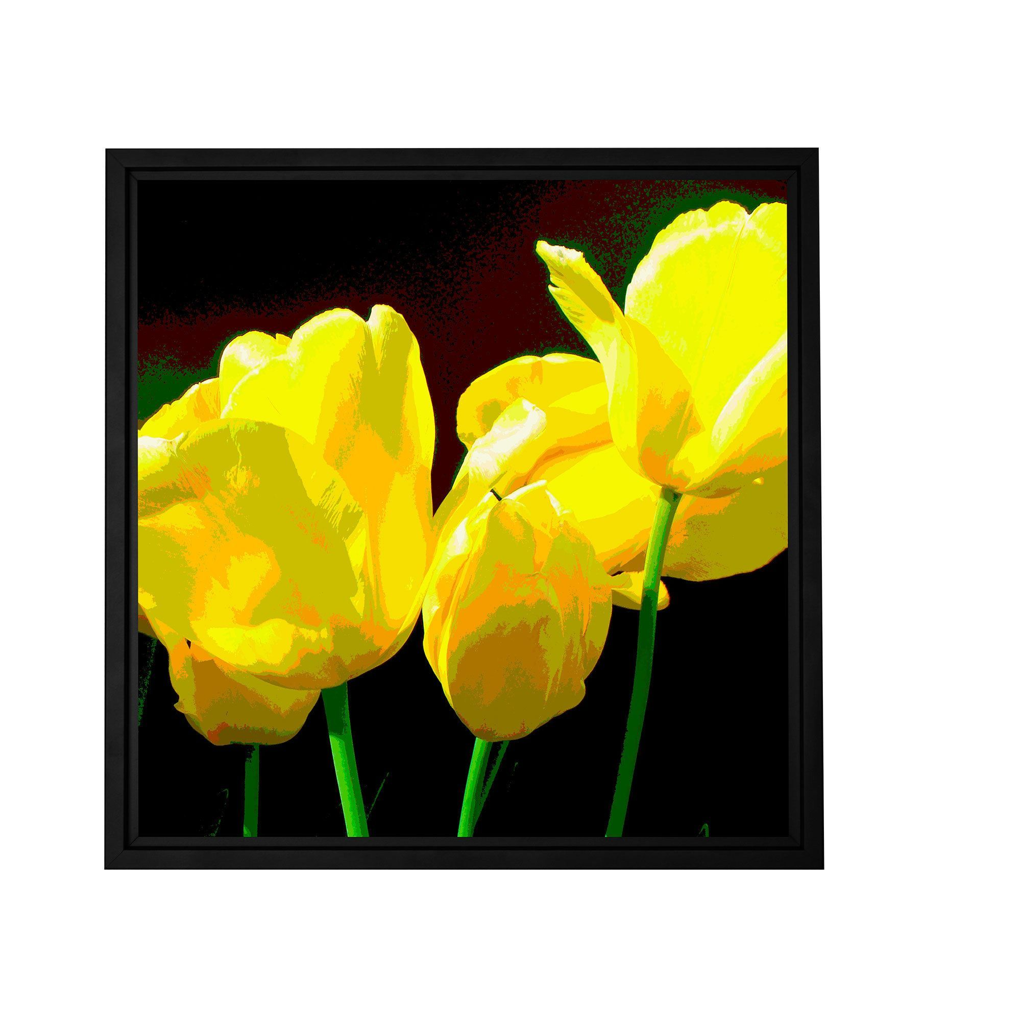 ArtWall Herb Dickinson ' Tulips 2' Floater Framed Gallery-wrapped Canvas