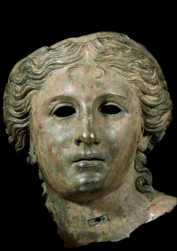 The Satala Aphrodite 1st Century BC Hellenistic Found Satala, Turkey Bronze head from a cult statue of Anahita in the guise of Aphrodite or Artemis. The eyes were originally inlaid with either precious stones or a glass paste, and the lips perhaps coated with a copper veneer. The top of the head was damaged during excavation. The thin-walled casting of the bronze head suggests a late Hellenistic date. Source: British Museum