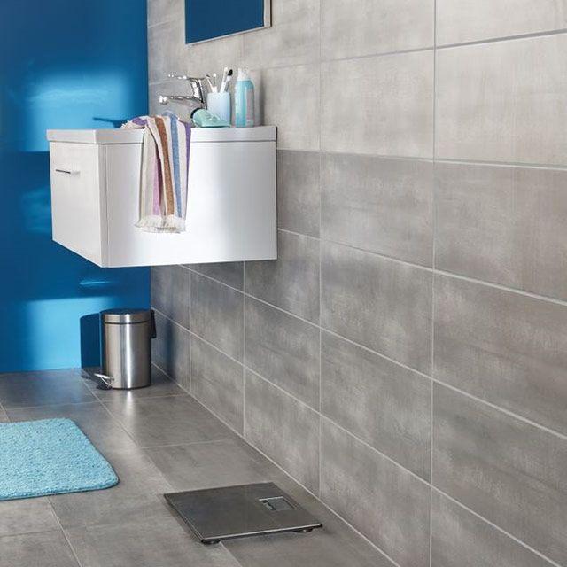 Carrelage sol et mur gris moyen 30 x 60 cm Made - CASTORAMA ...