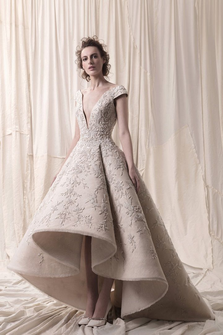 2018 bridal cap sleeves deep v neck heavily embellished bodice glamorous princess high low a line wedding dress chapel train- sophisticated wedding dresses with impeccable detailing #weddingdress #weddinggowns #weddingdresses #longsleeve embellished bodice princess ball gown wedding dress Krikor Jabotian 2018 Wedding Dresses