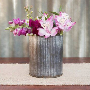Rustic Tin Vase Corrugated Sides 525 X 4 Galvanized Metal