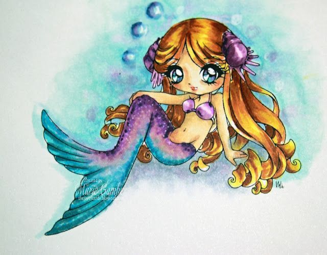 Cordelia the Mermaid. Skin Tones:  E50, E51, E11, E53, R20 Hair: Y11, Y21, E97 and E99 (Now where did that combo come from?) Fins and clothing:  V09, V07, V05, V04, V01, V000, V0000, BG07, BG04 BG02, BG000, BG0000, Colrless Blender, Opaque White Background: C2, C1, C00, B0000, B000, BG000, V000, B21, Colorless Blender, White colored pencil.