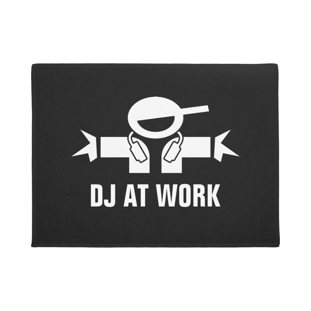 DJ AT WORK funny deejay doormat for diskjockey