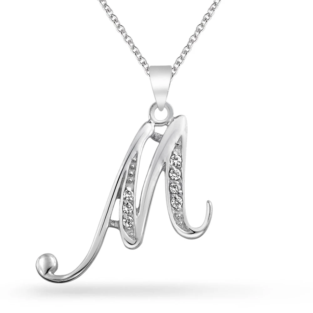 .925 Sterling Silver White CZ Initial M Charm Pendant