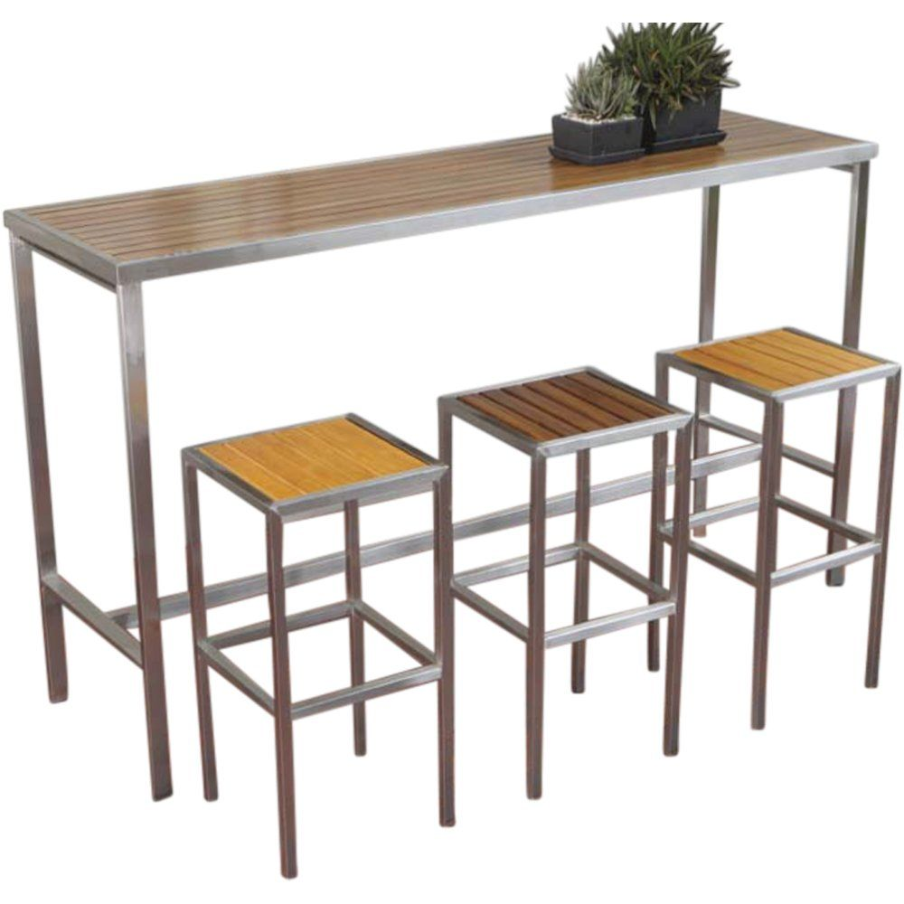 Hayman Outdoor High Bar Table Stainless Steel And Teak Wood Urban Couture