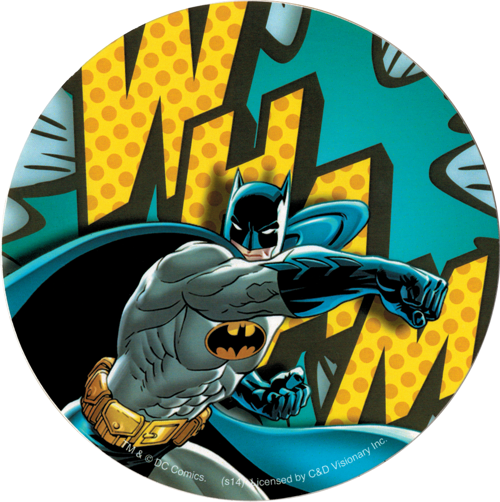 Batman batman punching with wham behind round very very limited quantity discontinued by manufacturer not many left sticker