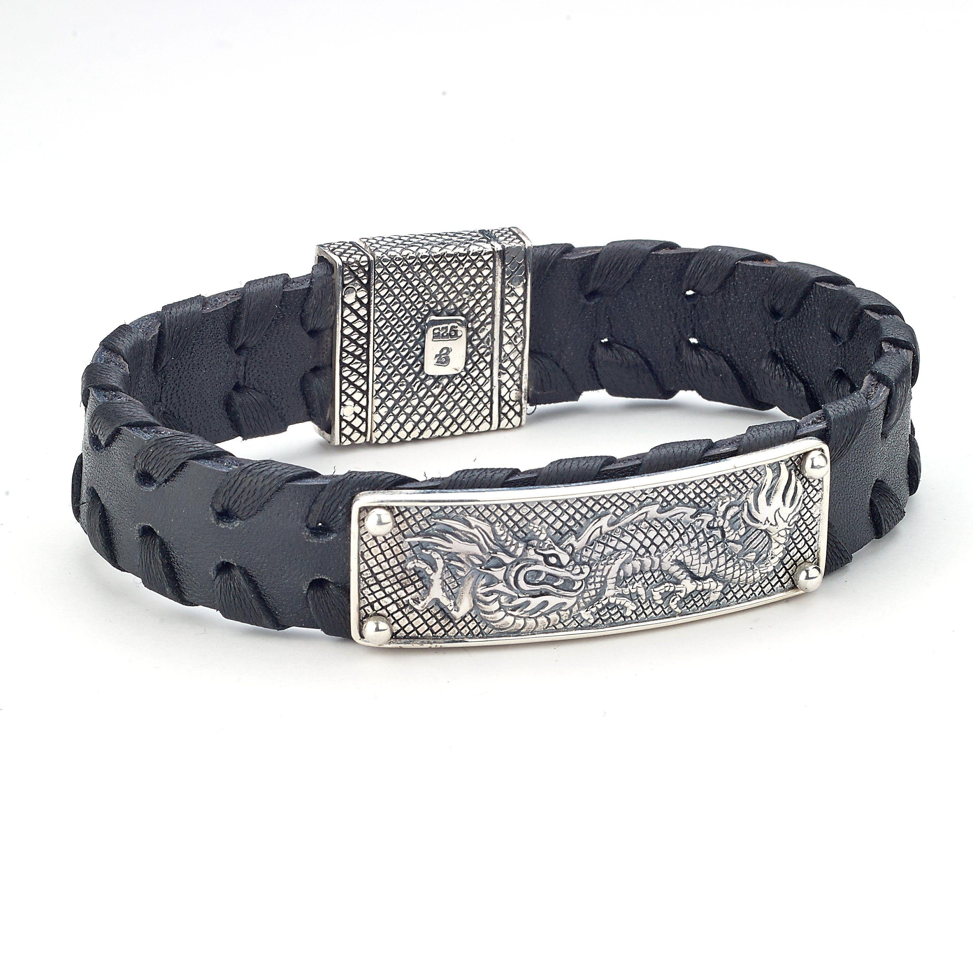 Samuel b sterling silver dragon design black leather bracelet