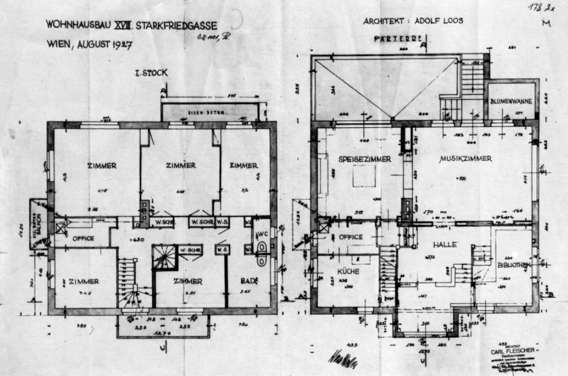 Adolf loos moller haus dibujo pinterest for Haus plan