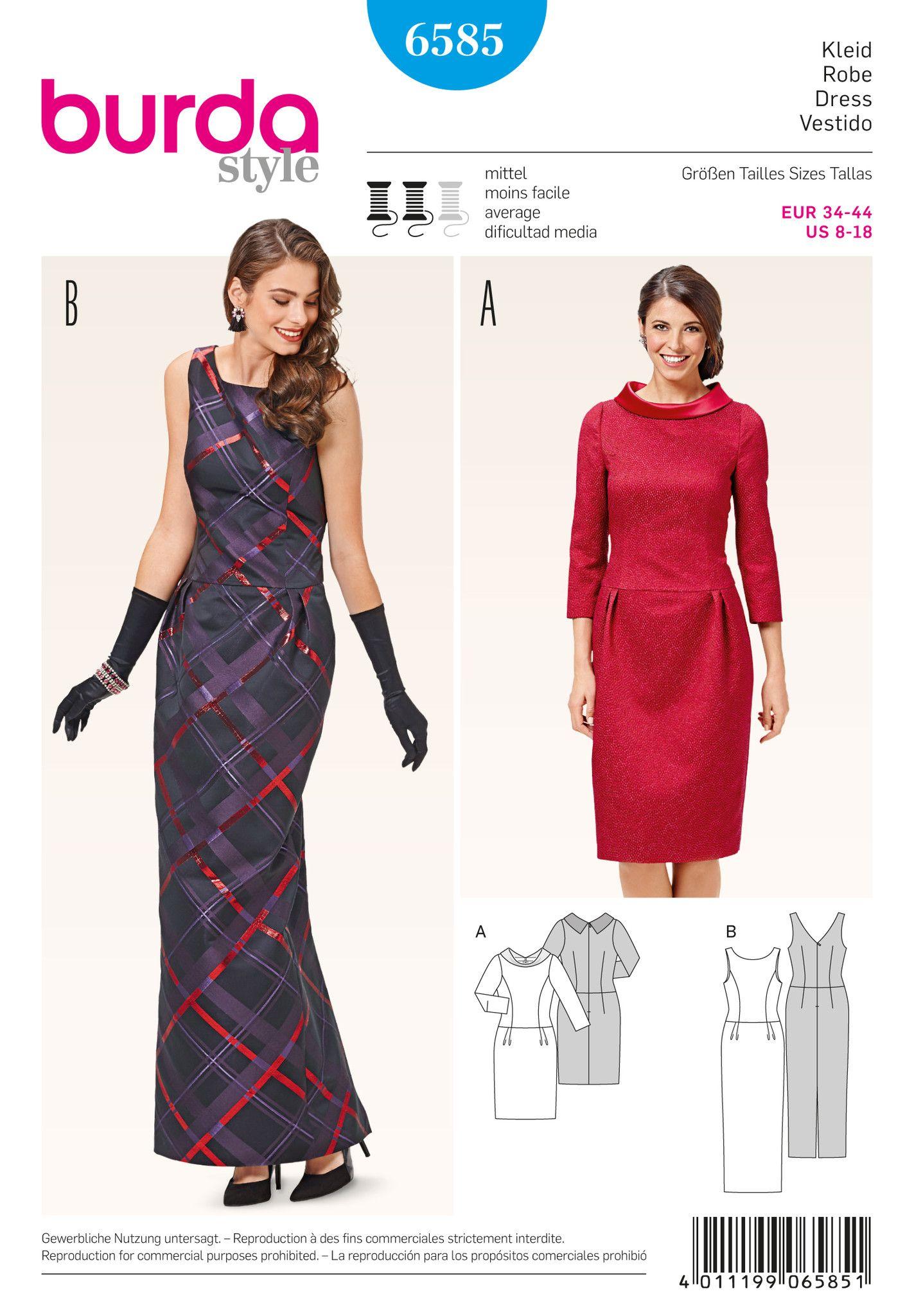 Dress | Burda Pattern 6585 | Vintage Patterns | Pinterest | Burda ...
