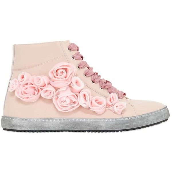POKEMAOKE Roses Patent Leather High Top Sneakers (32580 RSD) ❤ liked on Polyvore featuring shoes, sneakers, pink, high top shoes, hi tops, patent leather sneakers, vintage sneakers and vintage shoes