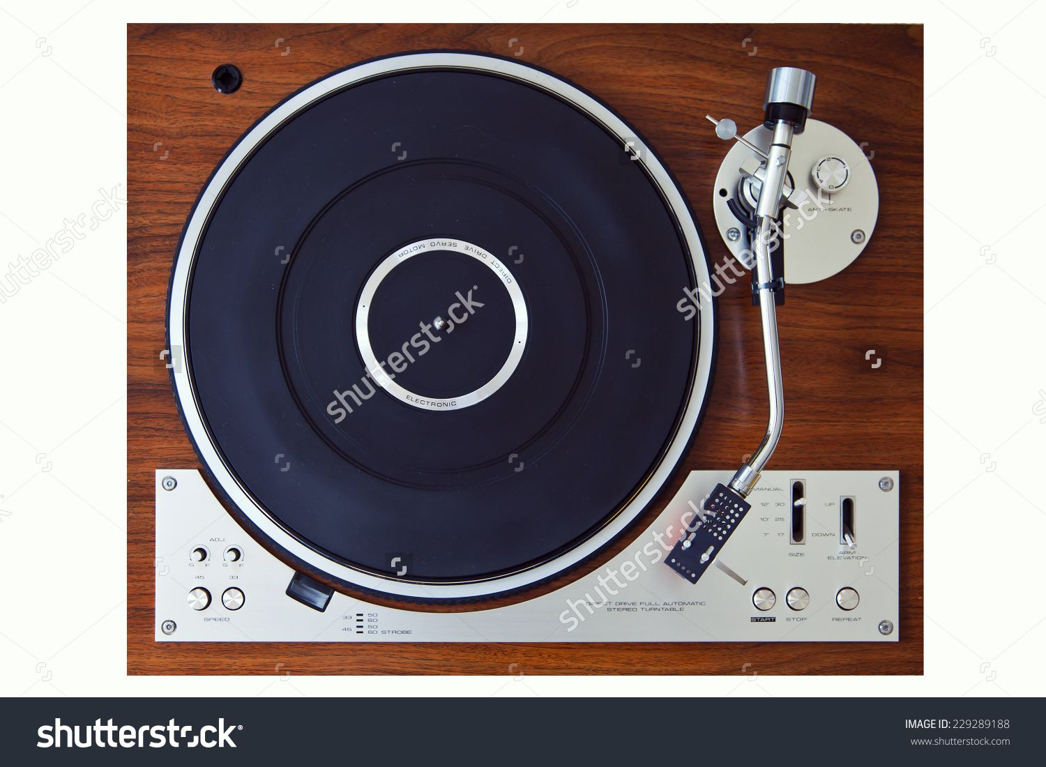 Stereo Turntable Vinyl Record Player Analog Retro Vintage Top View Vinyl Record Player Old Record Player Stereo Turntable