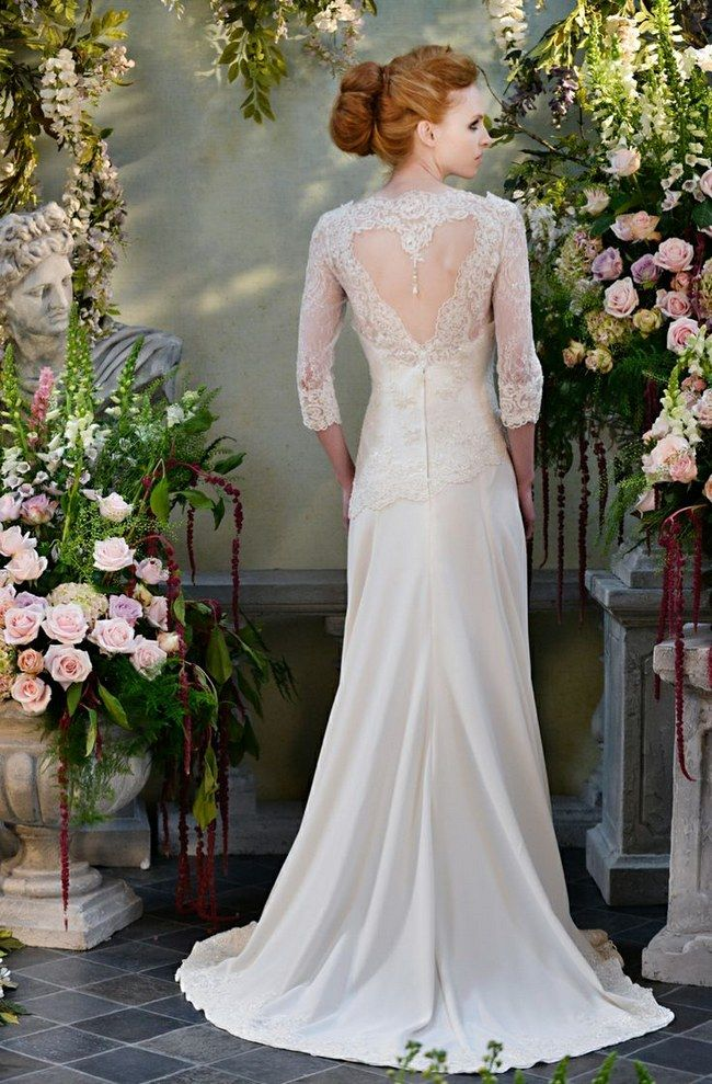The Heart Shaped Cut Out On Back Of This Long Sleeved Wedding Gown Is Amazing