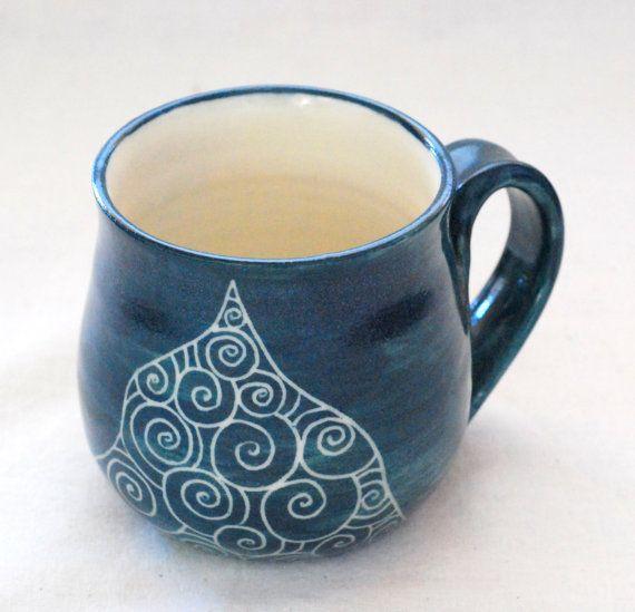 Handmade And Hand Decorated Coffee Mug Dark Green Stoneware Etsy In 2020 Mugs Hand Decorated Unique Coffee Mugs
