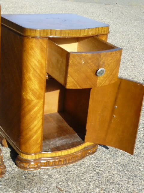 Antique Leo Jiranek Satinwood Oak Art Deco Waterfall Bedroom Set