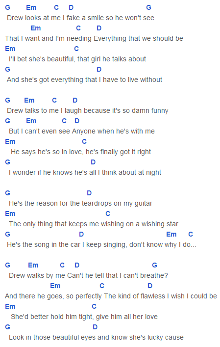 Teardrops On My Guitar Radio Single Remix Chords Capo 3 Taylor Swift Guitar Chords And Lyrics Ukulele Chords Songs Guitar Chords For Songs