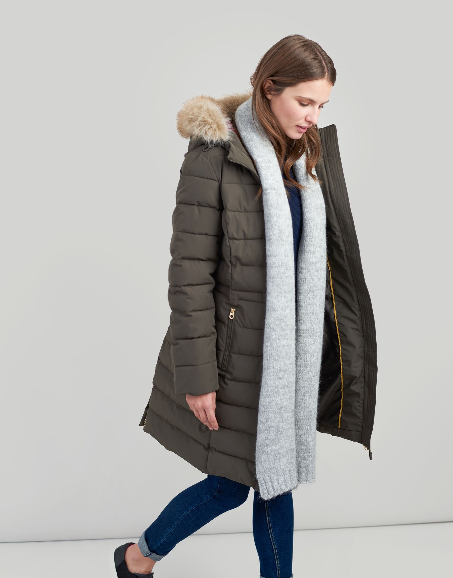 7eb255f57 Sefton BLACK OLIVE Longline Padded Jacket with Faux Fur Hood Trim | Joules  UK