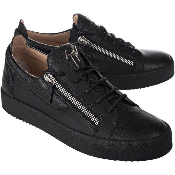d6e0e829b38f GIUSEPPE ZANOTTI May London Lindos Vague Frankie Black    Flat leather...  ( 650) ❤ liked on Polyvore featuring men s fashion, men s shoes, men s  sneakers, ...