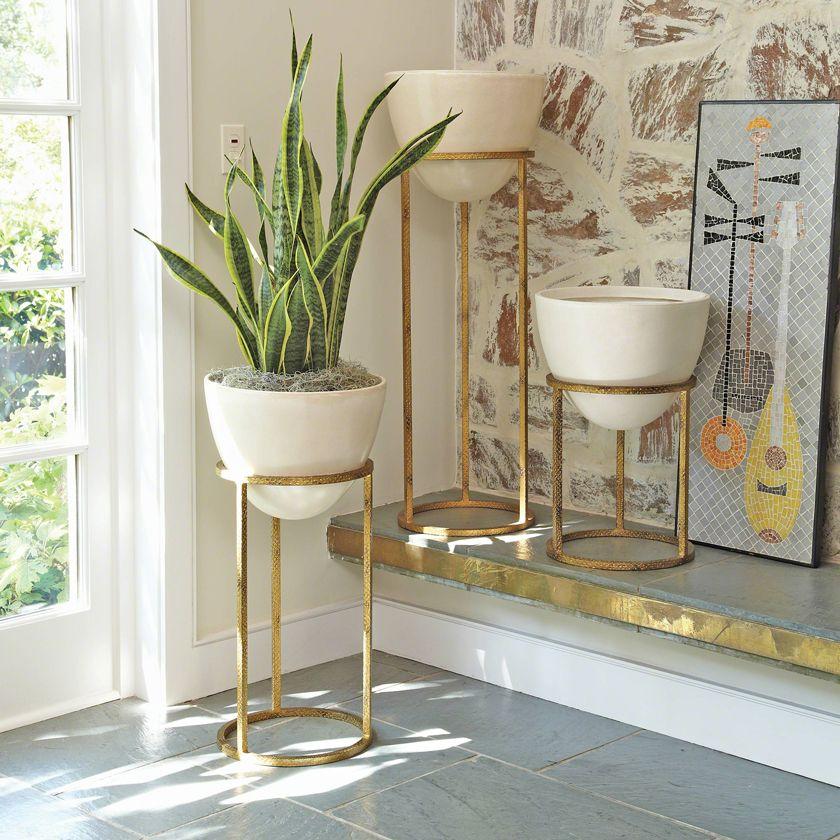 Leslie Modern Classic White Egg In Gold Planter Large Modern Interior Decor Gold Planter Foyer Decorating