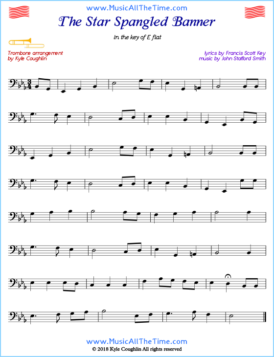 graphic about Free Printable Trombone Sheet Music called The Star Spangled Banner trombone sheet songs, organized in the direction of
