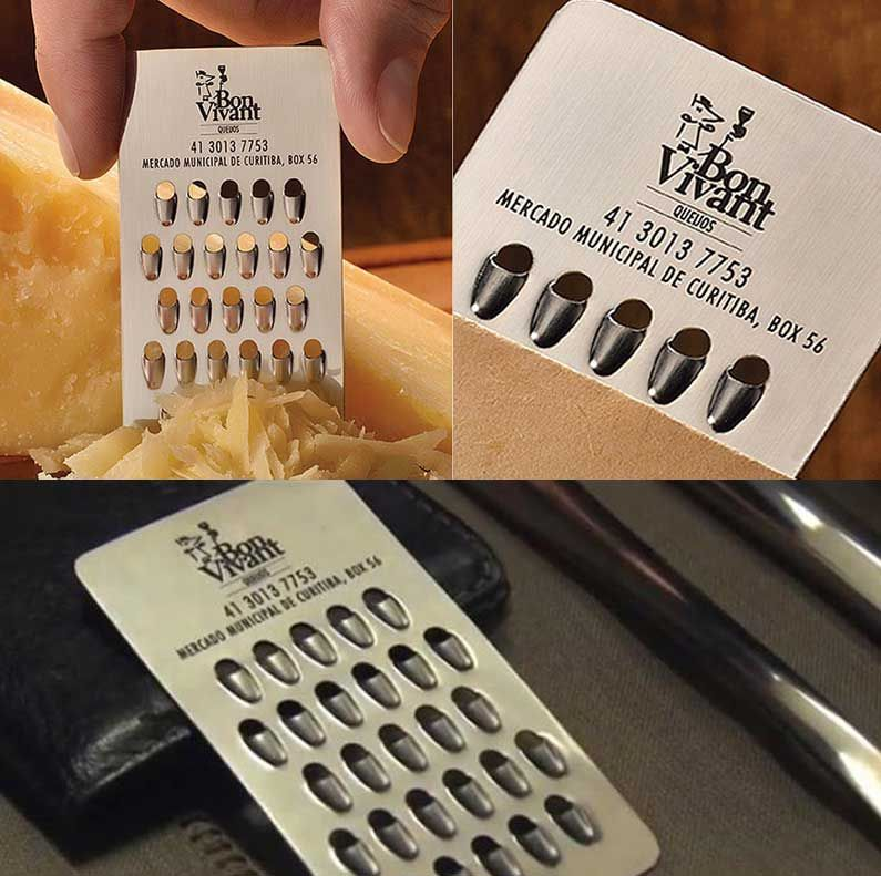 cheese grater metal business card, very original! to see more ...