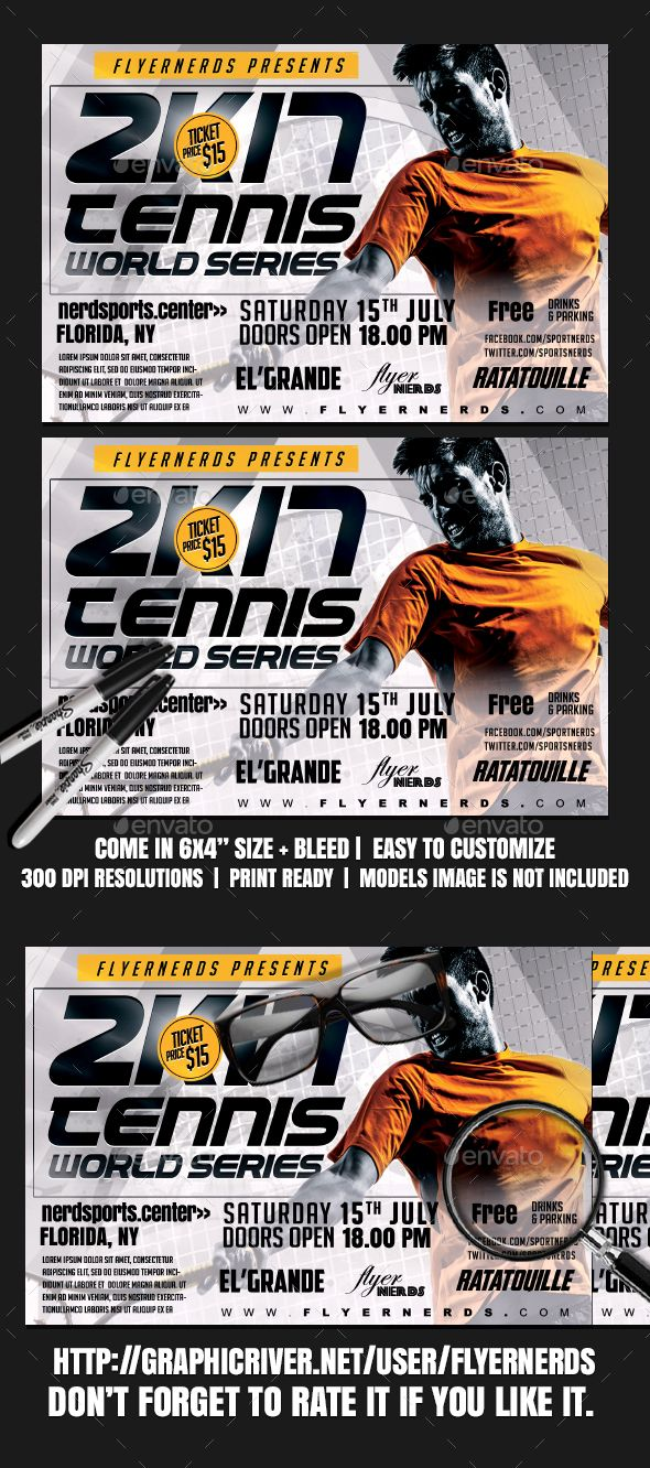 Tennis K World Series Sports Flyer  Tennis Flyer Template And
