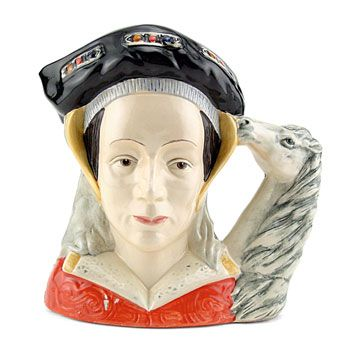 Royal Doulton Character Jug, Anne of Cleves Ears Down D6653 (black and red coloration). Designed by Michael Abberley. Series: Henry VIII and His Six Wives; Royalty, issued 1980 - 199