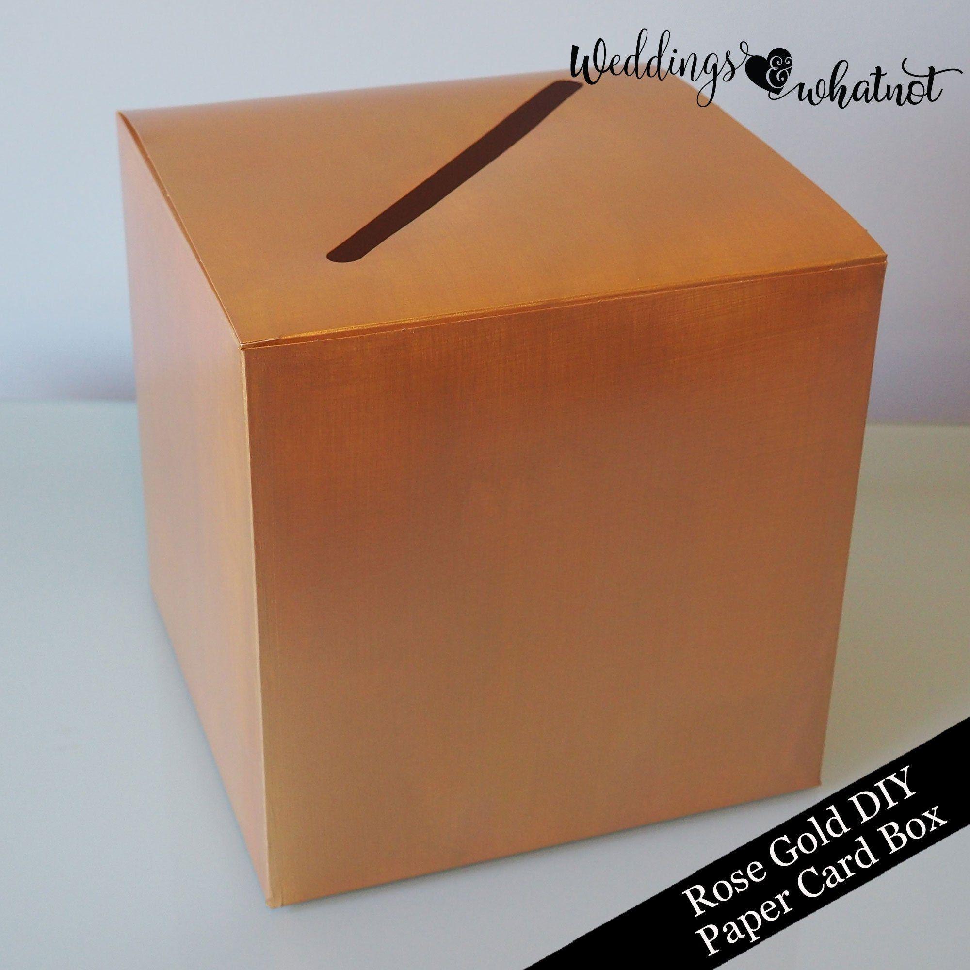 Rose Gold Diy Paper Card Box Card Holder Etsy Card Box Holder Card Box Diy Paper