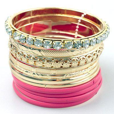 Stacked Fuchsia Bangle Bracelet