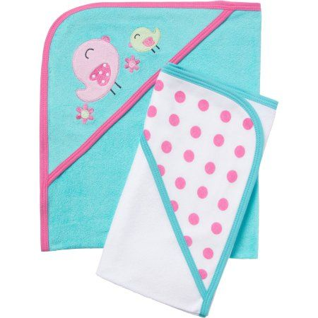 Gerber Newborn Baby Girl Terry Hooded Bath Towels, 2Pack
