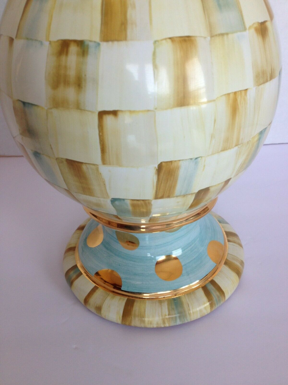 Mackenzie Childs Parchment Check 24 Table Lamp Shade Finial Hand Painted Ebay In 2020 Stained Glass Lamp Shades Lamp Shade Finials Mission Stained Glass