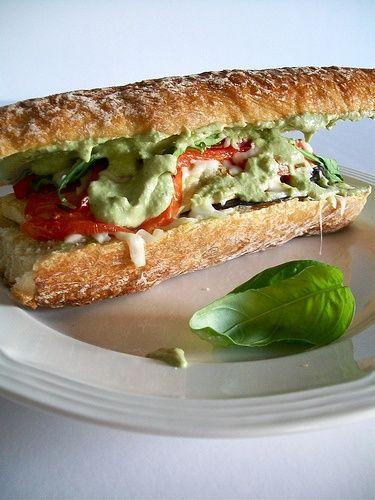 Oven-Crisp Pesto Eggplant Parmesan Sandwiches